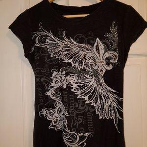 Women's black bling t-shirt - L